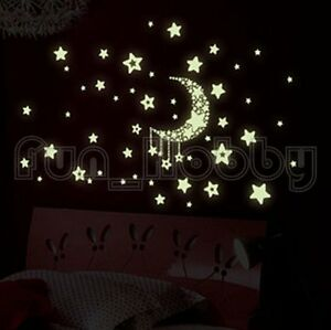 Glow Stickers Moon and Star Glow In The Dark Stickers Cute Moon and Star