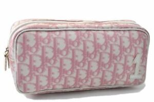 Authentic Christian Dior Trotter Pouch PVC Pink B3775