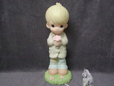 """Rare Precious Moments 16"""" Tall Lighted Boy With Flower Statue"""