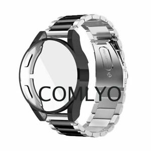 For Samsung Galaxy watch 4 44mm 40mm Strap Stainless Steel Band Case Cover