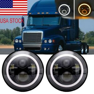For Freightliner Century Class 7inch LED Headlight DRL Turning Signal Lights X2