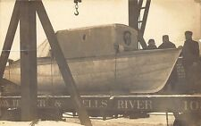 Monpelier & Wells River Railroad Crane Boat RPPC Real Photo Postcard