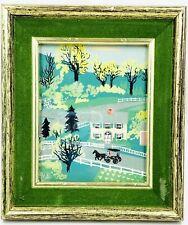 """Original Oil Painting Folk Art Scene of Home Horse & Buggy Matted & Framed 7"""""""