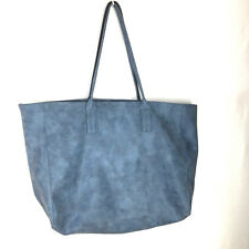 Saks Fifth Avenue Tote Women's Faux Leather Blue Extra Large Excellent Used