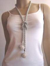 Modekette lang Modeschmuck Bettelkette Damen Hals Kette 2 x Strass Kugel Silber