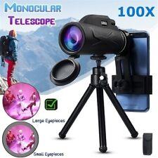 80X100 Hiking Monocular Telescope Hd Zoom Lens Prism+Tripod+Universal Phone Clip