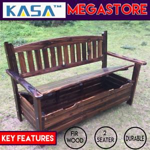 Genuine  Fir Wood Park Garden Patio Storage Bench Wheel Bench 2 Seater Deck