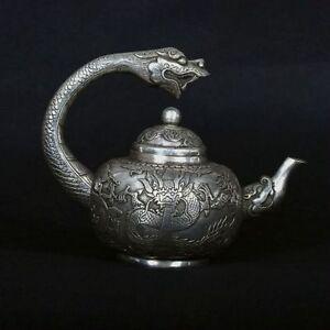Tibet Silve Copper Hand-Carved Faucet Teapots w Qianlong Mark