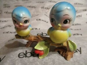Vintage  Bluebirds Sitting on a Branch  Porcelain  Figurine  -  Made in Japan