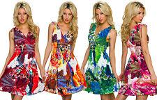 Festliche geblümte Damenkleider mit V-Ausschnitt