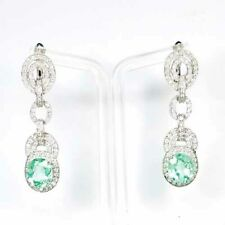 TOURMALINE GREEN OVAL EARRINGS 18.10CT.SAPPHIRE 925 STERLING SILVER DANGING GIFT