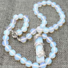 """Beautiful 10mm White Opal Moonstone Round Beads Gems Pendant Necklace 18"""""""