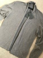 "ALL SAINTS GREY OYSTER ""WHERRY"" LOGO CARDIGAN SWEATSHIRT JUMPER S M L XL NEW TAG"