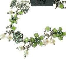 Vintage PILGRIM Jewellery Bracelet Sweetheart SWALLOW Bird Silver Green Pearl