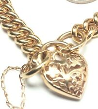 9ct Yellow Gold Bracelet With Padlock, Hollow Curb Link. 15.8gms