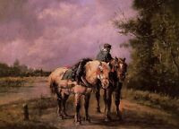 Beautiful Oil painting Wrangler with two horses in sunset landscape canvas 36""