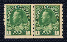 Canada #125(1) 1912 1 cent green George V COIL PAIR MH CV$80.00