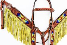 BEADED FRINGE WESTERN TRAIL BARREL HORSE BRIDLE LEATHER HEADSTALL BREASTCOLLAR