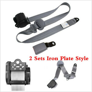 2 Sets Grey 3 Point Car Seat Belt Adjustable Retractable Nylon Iron Plate Style