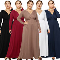 Women V-Neck Long Sleeve Maxi Dress Plus Size Evening Party Cocktail Prom Dress