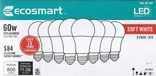 .(8-Pack) Ecosmart 60W LED -CONSUMES 9 WATTS, Soft White(2700K) A19 Light Bulbs