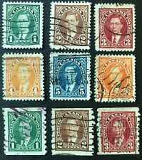 CANADA 1937 #s 231-6, 238-240 - KING GEORGE VI 'MUFTI' ISSUE -SET + COILS- USED