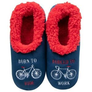 Snoozies Mens cosy feet coverings Style Pairables Born to Ride Colour Blue multi