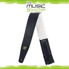 "Ernie Ball 2.5"" Adjustable Black Italian Leather Guitar Strap - Fur Padding 4137"