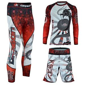 MMA BJJ Rash Guard Kickboxing UFC Athletic Sports Legging Shorts Gym Wear Set