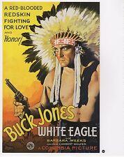 "2003 Vintage COWBOY ""WHITE EAGLE"" AS ""REDSKIN"" MINI POSTER Art Plate Lithograph"