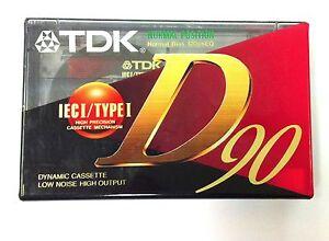TDK D90 Ferric Blank Audio Cassette 90 Minute Tape V2 New Sealed Stock
