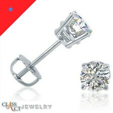 1/2ct 14K White Gold Round Natural (Real) Diamond Stud Earrings-Certified