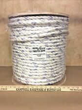 "3 Strand Poly-Dacron 5/8"" x 600' White w/Blue Tracers Combination Rope"