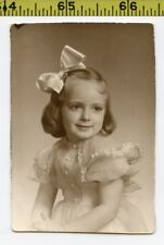 Vintage 1940's photo / Classic LITTLE GIRL Pose with Bobbed Hair in a Satin Bow