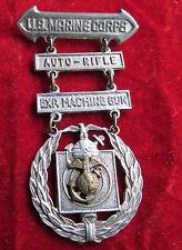 US MARINE CORPS EXPERT  MARKSMANSHIP BADGE Jeweler made USMC MG Auto Rifle