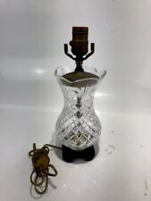 Vintage Signed Waterford Crystal Brass Table Lamp Patina Princess Diamond Cut