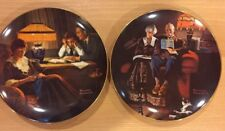 "Vtg Knowles Plates Rockwell's Light Campaign Series ""Father's Help� Evening Ease"