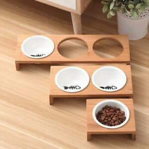 Elevated Pet Bowls Raised Dog Cat Feeder Solid Bamboo Stand Ceramic Food Feeding