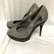BCBG MAXAZRIA SHOES 'harlow' Platform Heel gray Leather Size: 9 / 39