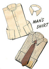 """Vintage 1940's Sewing Pattern Man's Shirt Detachable Collar Neck 15.5"""" Chest 40"""""""