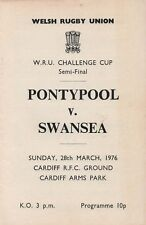 Mar 76 PONTYPOOL v SWANSEA Schweppes Welsh Cup semi final