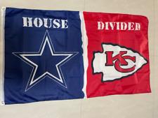 Dallas Cowboys Kansas City Chiefs House Divided Flag 3x5 FT Football NFL Banner