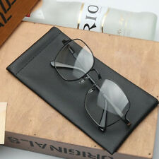 Black Nice Leather Sunglasses Glasses Sleeve Case Soft Specs Slim Mouth Snapped