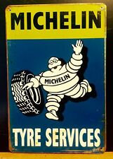 MICHELIN Man Tyre Service Large METAL SIGN Vtg Retro Garage Wall Decor 30X40 CM