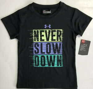 NWT Under Armour Youth Girls Sz 4 Never Slow Down Short Sleeve T Shirt BLK New