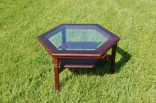 Hexagonal Glass Top Occasional Table With Shelf - Ideal Upcycle Project