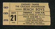 1980 Beach Boys Concert Ticket Caesars Lake Tahoe Surfin USA