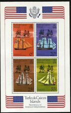 AMERICA INDEPENDENCE 200TH ANN. FAMOUS BOATS TURKS & CAICOS MINT SOUVENIR SHEET