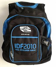 "Intel Backpack for 15"" to 15.5"" Laptop Computer Black Nylon with Light Blue NWT"