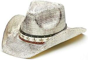 Men's Vintage Tea-Stained USA American Flag Shape-It Brim Cowboy Hat w/ Western